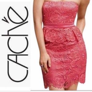NWT CACHE DRESS CORAL Coral Peplum Lace Strapless